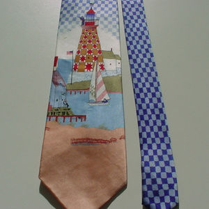 Jim Shore signature series silk necktie lighthouse